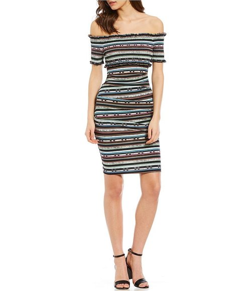 Paradise Stripe off the shoulder dress