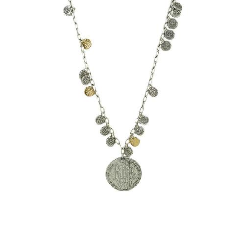 Apollonia Saint Multi Coin Pendant Necklace