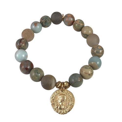 Indian coin Blue Opal & Grey Agate Stretch Bracelet
