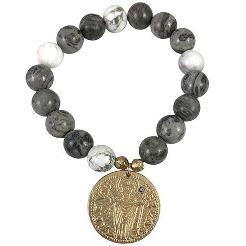 St. Blaise Coin Crazy Lace Agate & Howlite Bracelet