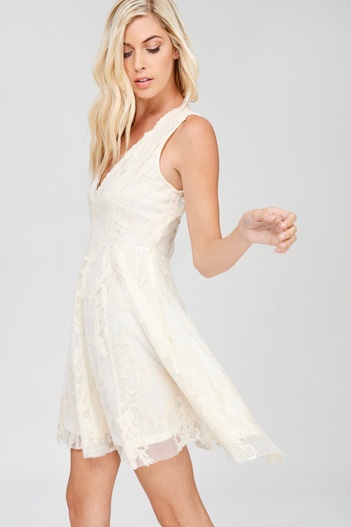 Sleeveless Embroidered Mesh Cotton Lace with Deep Neck