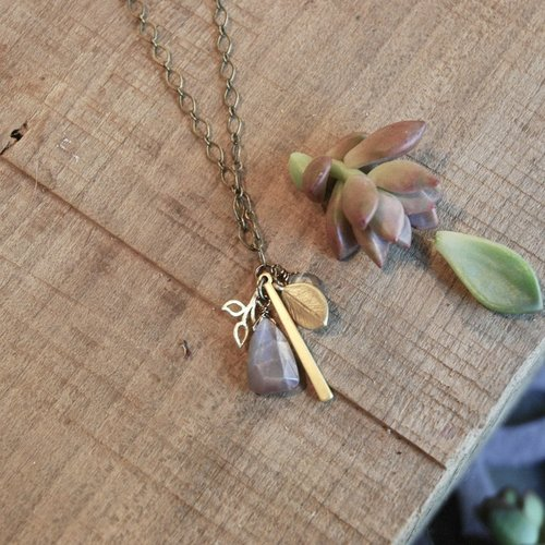"Blush Moonstone & Leaves Cluster 32"" Necklace"