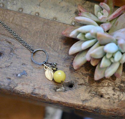 """Mustard Gem Cluster 32"""" Necklace"""