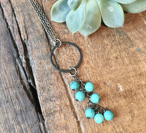"Turquoise Cascade 32"" Necklace"