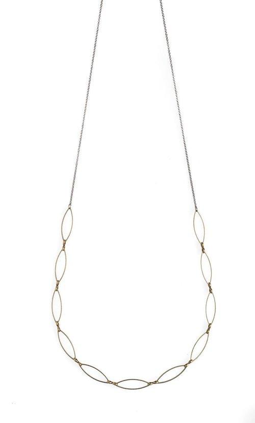 "Antique Bronze Marquise 16-18"" Necklace"