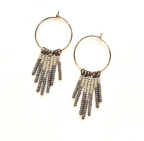 Gray With Pearly Silver Tassel Earrings