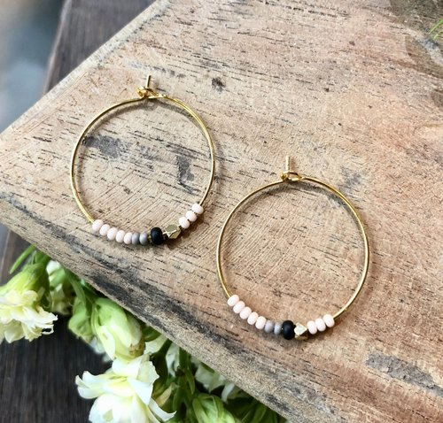 Peach With Black Gold Ring Earrings