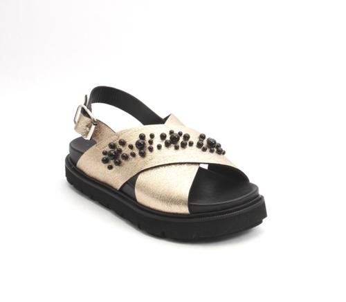 Bronze Leather Platform Slingback Sandal