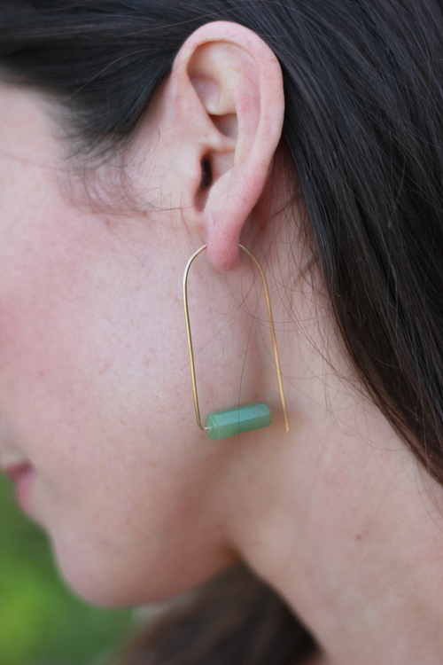 Drea Wire Earring Oval Jade