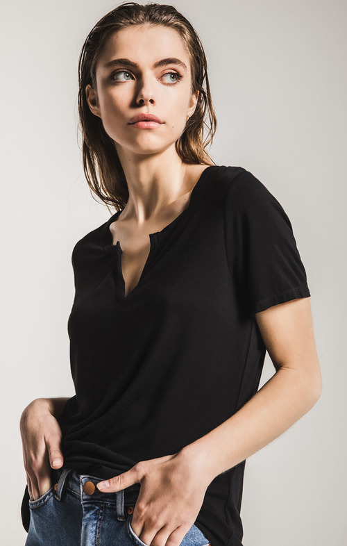 Sleek Jersey Split Neck Short Sleeve Tee