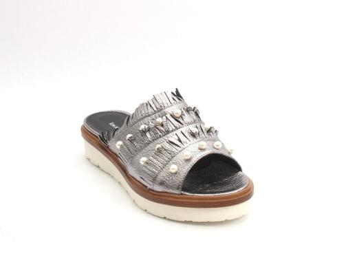 Metallic Gray Leather Platform Slides Sandal