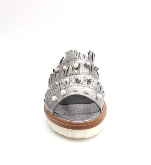 8add670fb841 Metallic Gray Leather Platform Slides Sandal By Laura Bellariva ...