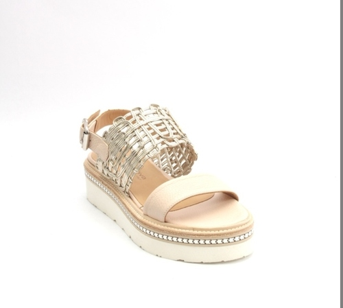 Beige / Gold Leather Platform Mesh Sandal