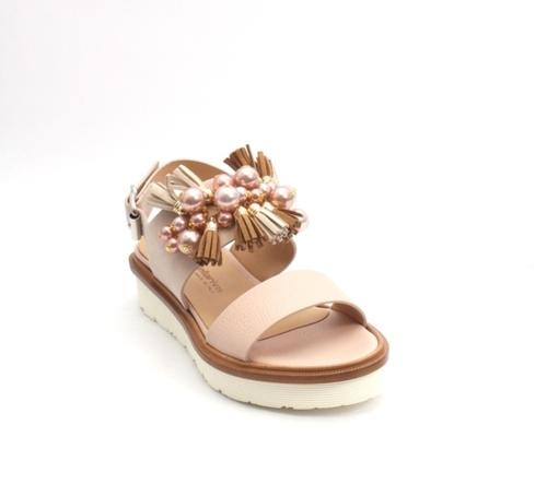 Peach / Beige Leather Suede Platform Sandals
