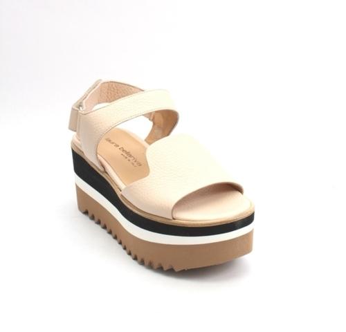 Beige Leather Platform Slingback Sandals
