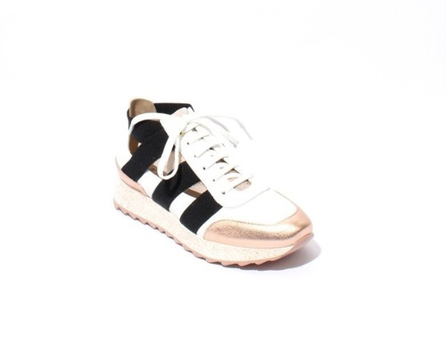 Rose Gold White Black Leather Elastic Lace-Up Sneakers