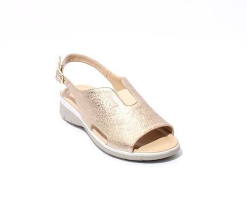 Gold Leather Elastic Slingbacks Wedge Comfort Sandals