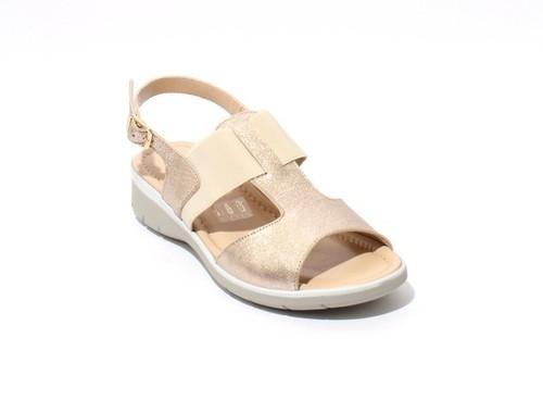 Gold Leather / Elastic Slingbacks Wedge Comfort Sandals