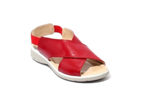 Red / Beige Leather Strappy Slingbacks Wedge Sandals