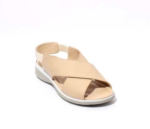 Beige Leather Strappy Slingbacks Wedge Comfort Sandals