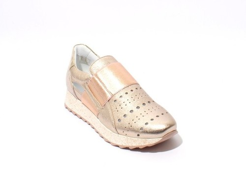Gold / Rose Gold Leather Elastic Wedge Fashion Sneakers