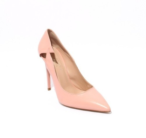 Baby Pink Leather Stiletto Heels Pointy Toe Pumps