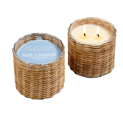 Blue Seaside 2 Wick Hand Woven Candle
