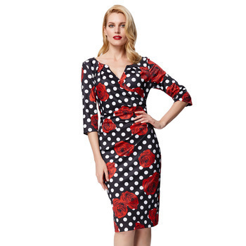 Giavanna Wrap Dress in polkadot Rose