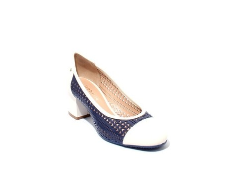 Navy / White Perforated Leather Heel Round Toe Pumps