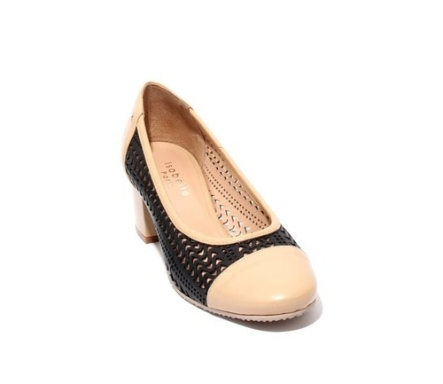Black / Beige Perforated Leather Heel Round Toe Pumps
