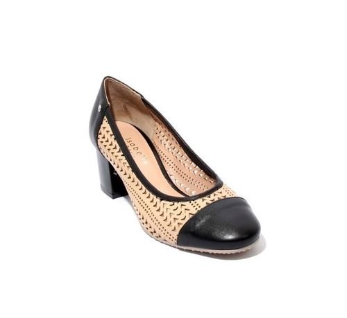 Beige / Black Perforated Leather Heel Round Toe Pumps