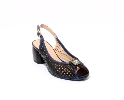 Black / Navy Leather Slingbacks Open Toe Heel Sandals