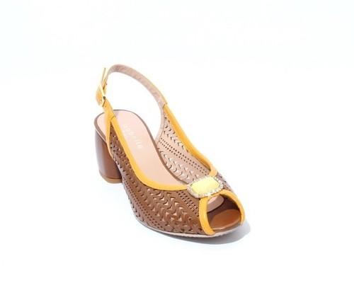 Brown / Mustard Leather Slingback Open Toe Heel Sandal