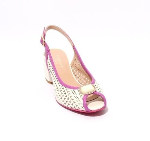 White / Purple Leather Slingbacks Open Toe Heel Sandal
