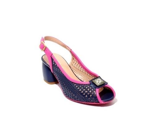 Navy / Fuschia Leather Slingbacks Open Toe Heel Sandal