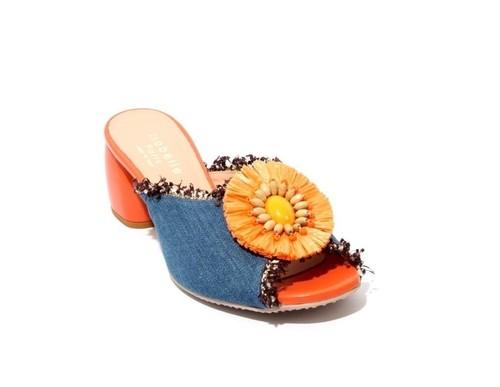 Multi-Color Denim Leather Chunky Heel Slides Sandals