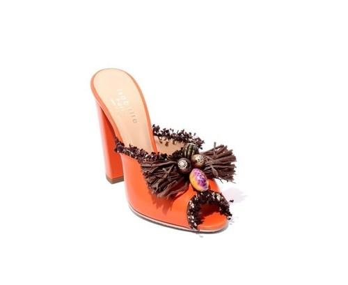 Orange Leather Chunky Heel Slides Sandals