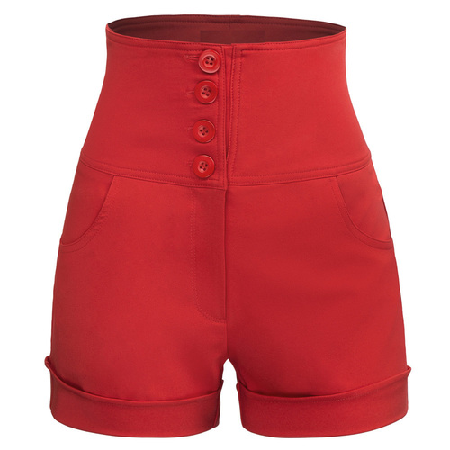 High Waisted Sailor Shorts in Black or Red