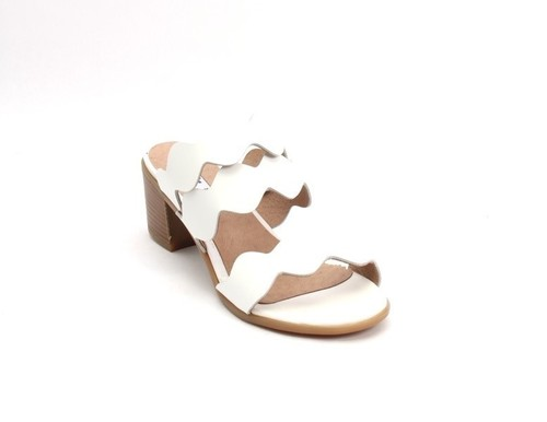 White Leather Open-Toe Strappy Slides Sandals
