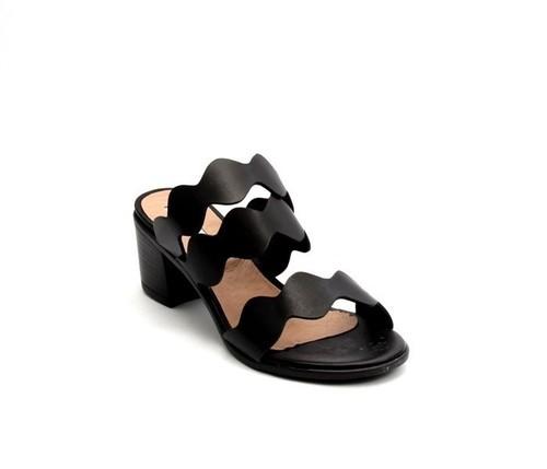 Black Leather Open-Toe Strappy Slides Sandals