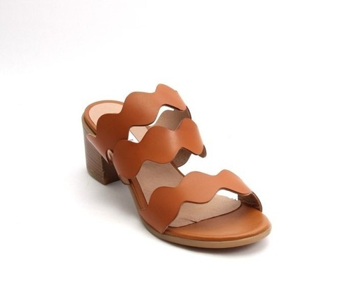 Brown Leather Open-Toe Strappy Slides Sandals