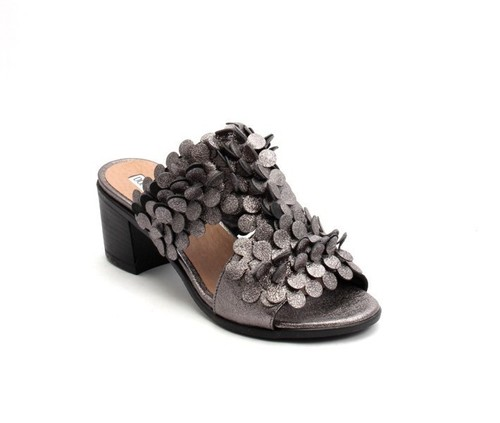 Metallic Gray Leather Open-Toe Strappy Slides Sandals