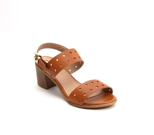 Brown Perforated Leather Comfort Heel Strappy Sandals