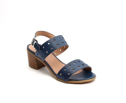 Navy Perforated Leather Comfort Heel Strappy Sandals