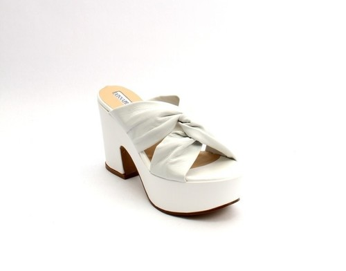 White Leather Platform Heel Slides Sandals