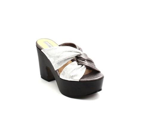 Multi-Color Leather Platform Heel Slides Sandals