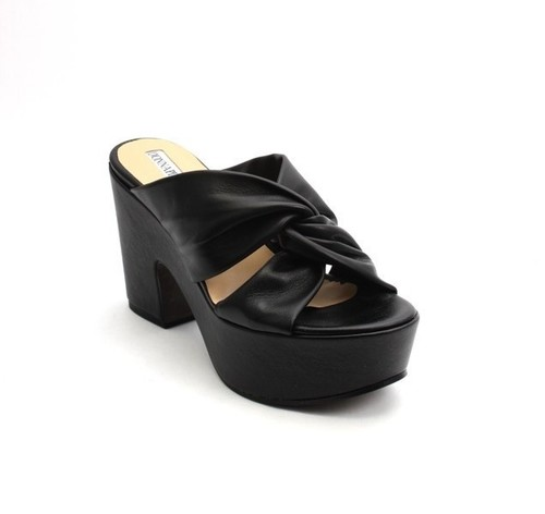 Black Leather Platform Heel Slides Sandals