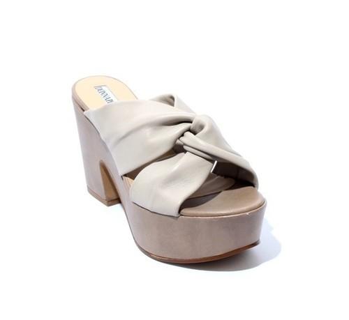Beige Leather Platform Heel Slides Sandals