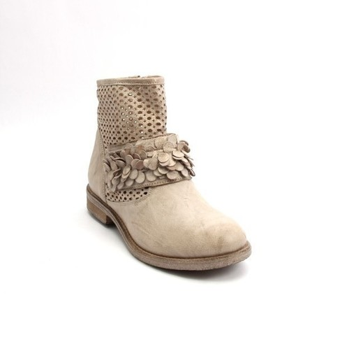 Antique Beige / Gold Leather Suede Zip Ankle Booties