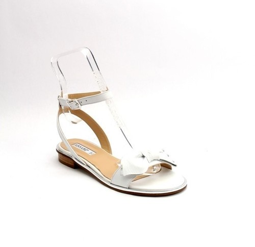 White / Silver Leather Ankle-Strap Gladiator Sandals